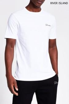 River Island Prolific Schmales T-Shirt mit Rundhalsausschnitt, Weiß