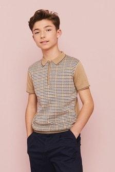 قميص بولو مربعات منسوج بسحاب رقبة (3-16 سنة)