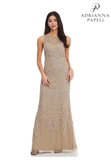 Adrianna Papell Nude Beaded Halter Gown