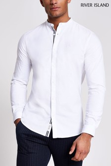 River Island White Grandad Oxford Shirt