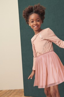 Kleid mit Paillettensternen und Tüllrock (3-12yrs)