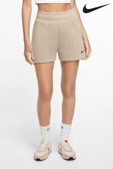 Nike Trend fleece short met hoge taille in beigebruin