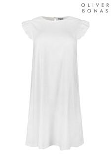 Oliver Bonas White Broderie Jersey Dress