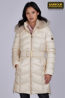 Barbour® International Longline Fur Trim Padded Match Jacket