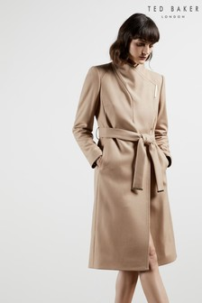 Ted Baker Rose Midi Wool Wrap Coat With Shoulder Panels