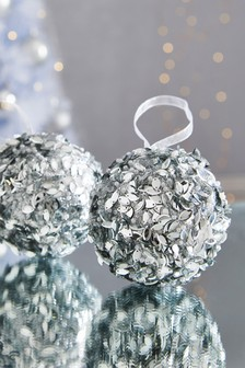 Set of 2 Encrusted Baubles