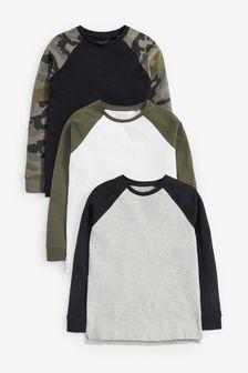 3 Pack Camo Raglan T-Shirts (3-16yrs)