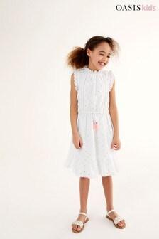 Oasis Kleid mit Rüschen und Lochstickerei, Weiß