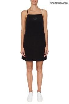 Calvin Klein Jeans Black Monogram Slip Dress