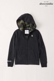 Abercrombie & Fitch Sherpa Kapuzenjacke mit Reißverschluss und Logo, Schwarz