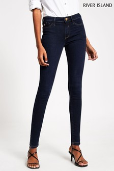 River Island Denim Dark Molly Mid Rise Fox Jeans