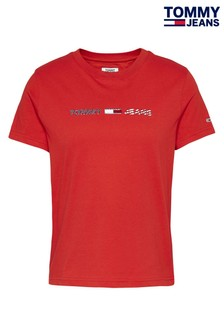 Tommy Jeans Red Americana Straight Logo T-Shirt