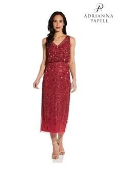 Adrianna Papell Red Sleeveless Beaded Blouson Dress