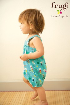 Frugi GOTS Organic Jersey Romper Dungarees In Green Sporty Print