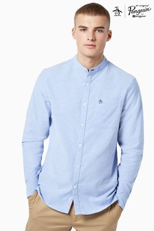 Original Penguin® Blue Granddad Collar Cotton Oxford Long Sleeved Shirt
