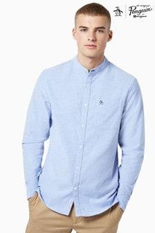 Chemise Oxford Original Penguin® en coton bleue à manches longues et col grand-père
