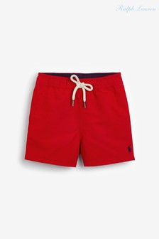 Красные пляжные шорты с логотипом Ralph Lauren
