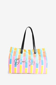 Large 'Beach Stuff' Slogan Striped Beach Bag
