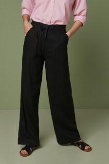 Pantalon en mélange de lin coupe large
