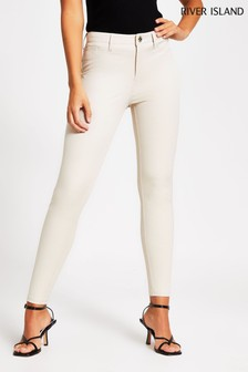 River Island Cream Twill Molly Skinny Trousers