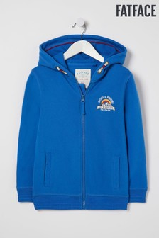 FatFace Blue Zip Thru Graphic Hoody