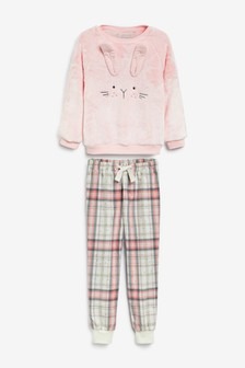 3D Bunny Fleece Set With Woven Bottoms (3-16yrs)