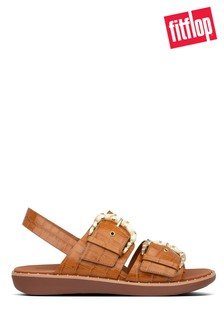 FitFlop™ Brown Kaia Croc Print Back-Strap Sandals