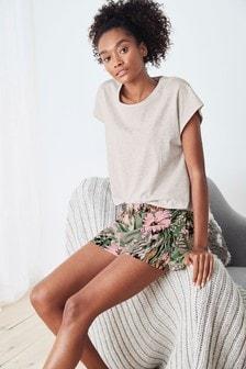 Kurzes Pyjama-Set aus Baumwollmischung