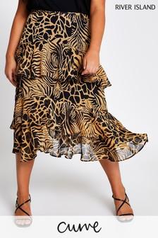 River Island Brown Light Tiered Frill Midi Skirt