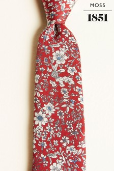 Moss 1851 Red With Blue & White Flower Print Silk Twill Tie