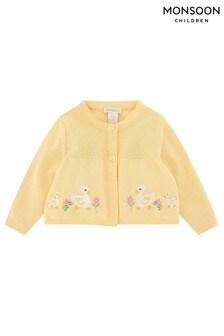 Monsoon黃色新生兒嬰兒服飾Duckie開襟毛衣