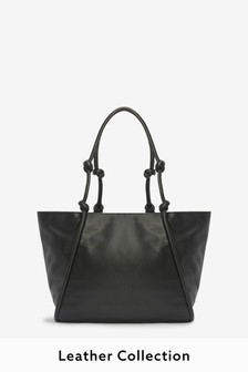 Leather Knot Handle Shopper Bag