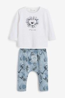 סט טייץ וחולצת טי מבד ג'רזי בהדפסאריה (0 חודשים עד גיל 3)