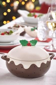 Lidded casserole dish Christmas Pudding
