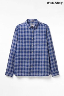 White Stuff Blue Loggerheads Check Linen Shirt