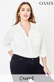 Oasis Curve - Camicia bianca in tessuto a pallini