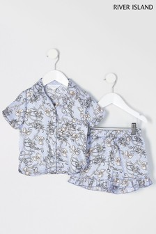 River Island Blue Mon Amie Satin PJ Set
