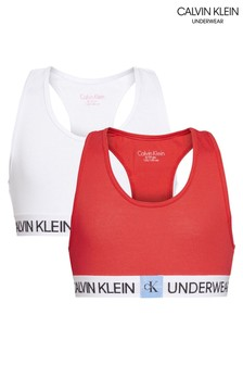 Calvin Klein Red Minigram Bralettes Two Pack