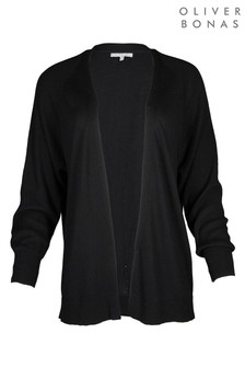 Oliver Bonas Ribbed Sleeve Black Open Front Cardigan