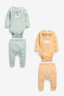 מארז 4 סטים של בגד גוף עם טייצים מכותנה אורגנית בדוגמה מנומרת (0 חודשים עד גיל 2)