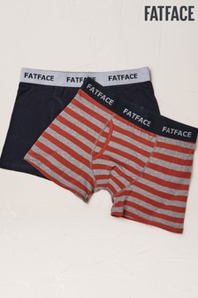 FatFace Orange Rugby Stripe Boxers Two Pack