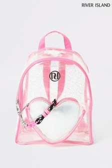 River Island Pink Bright Heart Vinyl Backpack