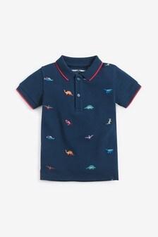 Трикотажная рубашка поло с короткими рукавами и вышивкой (3 мес.-7 лет)