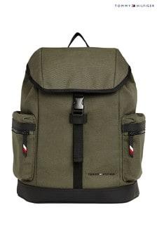 حقيبة ظهر يوتيليتي من قماش الكتان الأخضر من Tommy Hilfiger
