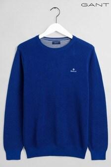 GANT Rundhalspullover aus Baumwoll-Piqué, blau