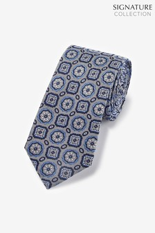 Дизайнерский шелковый галстук с рисунком медальонов