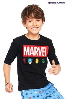 Fabric Flavours Black Marvel® Bouclé Logo Pique T-Shirt