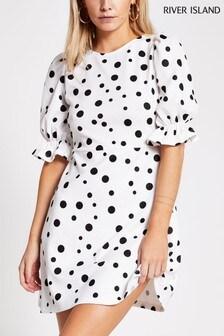 River Island Petite White Puff Sleeve Split Mini Dress