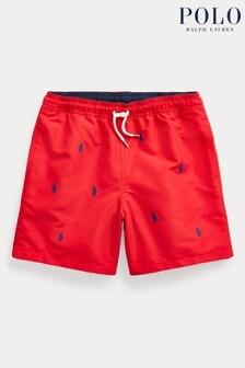 Short de bain Ralph Lauren rouge à logo