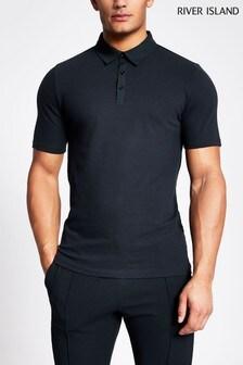 River Island Navy Nylon Collar Polo Shirt
